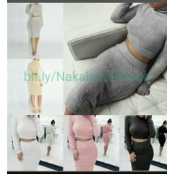 Conjunto top+falda tejido...